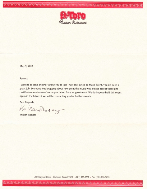 testimonial letter for DJ Houston