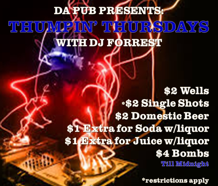 DA Pub THUMPIN thursday flyer